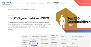 Eonics in top 250 van groeibedrijven 2020