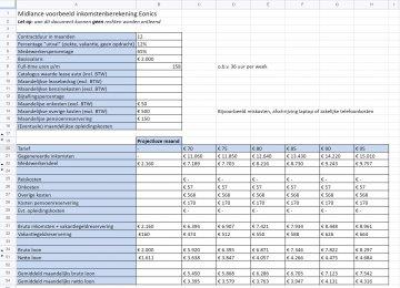 Rekenvoorbeelden midlance inkomsten bij Eonics